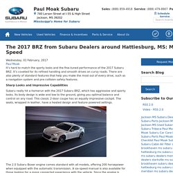The 2017 BRZ from Subaru Dealers around Hattiesburg, MS: Made for Speed