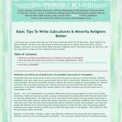 Basic Tips To Write Subcultures & Minority Religions Better