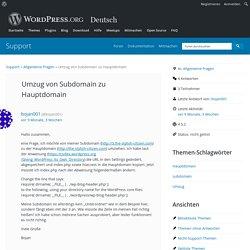 Thema: Umzug von Subdomain zu Hauptdomain « Support-Foren — WordPress