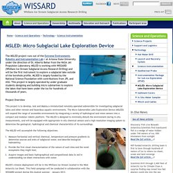 MSLED: Micro Subglacial Lake Exploration Device