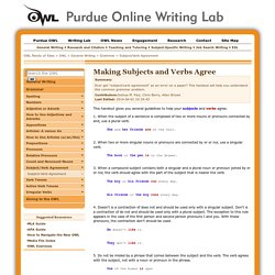 OWL: Subject/Verb Agreement