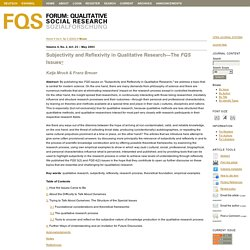 Subjectivity and Reflexivity in Qualitative Research—The FQS Issues