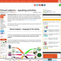 School subjects - speaking activities