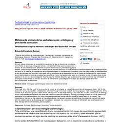 Subjetividad y procesos cognitivos - Métodos de análisis de las verbalizaciones: ontologías y procesode abducción