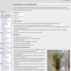 Sublimation et condensation