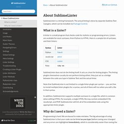 About SublimeLinter — SublimeLinter 3.4.24 documentation