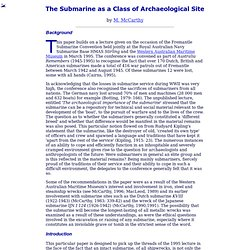 The Submarine as a Class of Archaeological Site