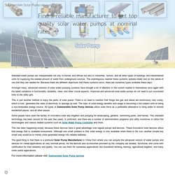 Submersible Solar Pump devices