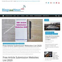 Free Article Submission Websites List 2020 - BlogsAndNews.com