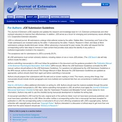 The Journal of Extension: For Authors: Submission Guidelines