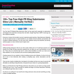 150+ Free High PR Blog Submission Sites List (Manually verified)