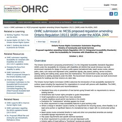 OHRC submission re: MCSS proposed regulation amending Ontario Regulation 191/11 (IASR) under the AODA, 2005