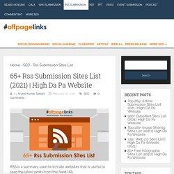 65+ Rss Submission Sites List (2021)