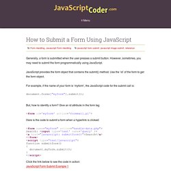 How to Submit a Form Using JavaScript