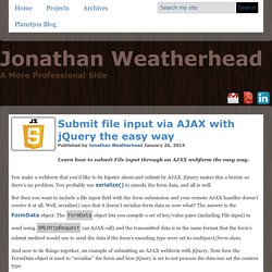 Submit file input via AJAX with jQuery the easy way - Planetjon