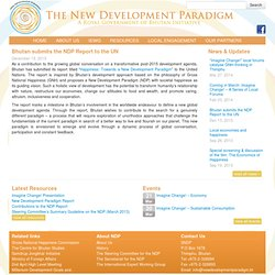 Bhutan submits the NDP Report to the UN - New Development Paradigm