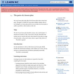 The parts of a lesson plan - Submitting lesson plans - Web Publishing & Collaboration Guide