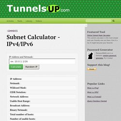Subnet Calculator - IPv4/IPv6 - TunnelsUP