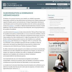 SUBORDINATION & DOMINANCE HIÉRARCHIQUES