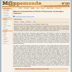 Migrations transsahariennes: le cas de Tamanrasset