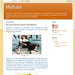 MySubs: Buy And Subscribe Autocar India Magazine