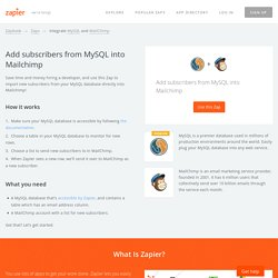 Add subscribers from MySQL into Mailchimp - MySQL and MailChimp Integrations