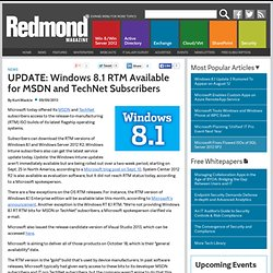 UPDATE: Windows 8.1 RTM Available for MSDN and TechNet Subscribers