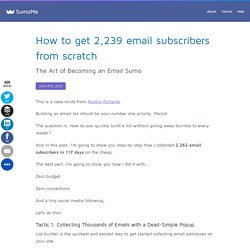 How to get 2,239 email subscribers from scratch - SumoMe
