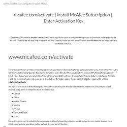 Install McAfee Subscription