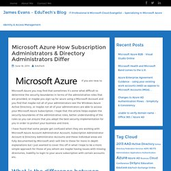 Microsoft Azure How Subscription Administrators & Directory Administrators Differ