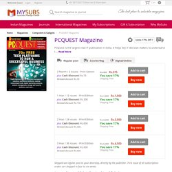 Upto 17% Off on PCQUEST Magazine Subscription - Cybermedia