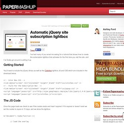 Automatic jQuery site subscription lightbox