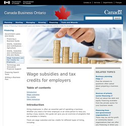 Wage subsidies and tax credits for employers