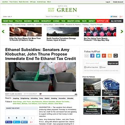 Ethanol Subsidies: Senators Amy Klobuchar, John Thune Propose Immediate End To Ethanol Tax Credit