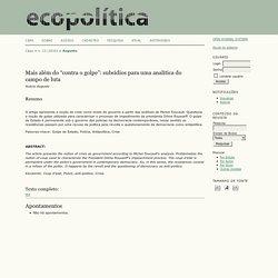 """Mais além do """"contra o golpe"""": subsídios para uma analítica do campo de luta"""