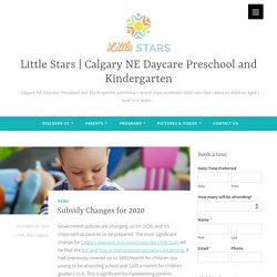 Calgary Daycare and Preschool Subsidy Changes for 2020