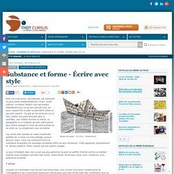 Substance et forme - Écrire avec style