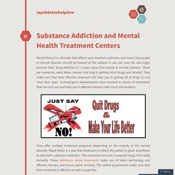 Substance Addiction and Mental Health Treatment Centers