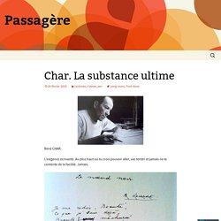 Char. La substance ultime