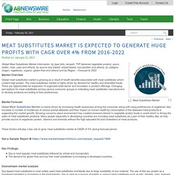 Meat Substitutes Market is Expected to Generate Huge Profits with CAGR over 4% from 2016-2022
