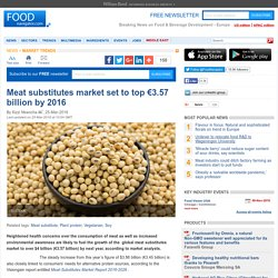 FOOD NAVIGATOR 25/03/16 Meat substitutes market set to top €3.57 billion by 2016.