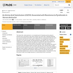 PLOS 18/12/13 An Amino Acid Substitution (L925V) Associated with Resistance to Pyrethroids in Varroa destructor