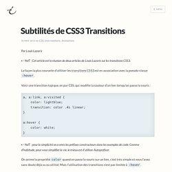 Subtilités de CSS3 Transitions