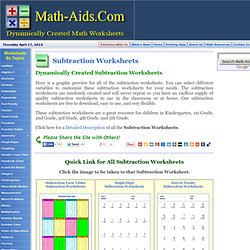 Dynamically Created Subtraction Worksheets