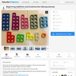 Beginning Addition and Subtraction Manipulatives by happycamper