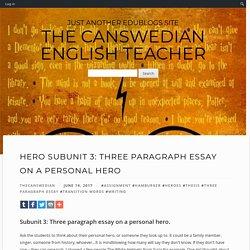 Hero Subunit 3: Three Paragraph Essay on a Personal Hero