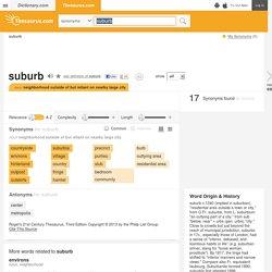 Suburb Synonyms, Suburb Antonyms