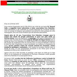 Manuel Valls, maire d'Evry, coupe toute subvention à notre association, notre combat continue pour une paix réelle au Proche-Orient