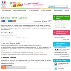 Subvention : définition générale - associations.gouv.fr