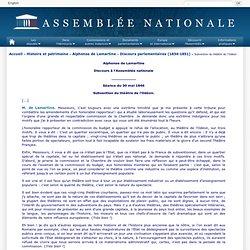 Subvention du théâtre de l'Odéon - Alphonse de Lamartine - Assemblée nationale